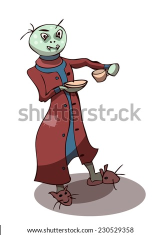Cartoon Stylized Vampire Drinking Coffee in his favorite Bunny Slippers, Vector Illustration isolated on White Background, outlines available on separated Layer.