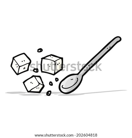 cartoon sugar lumps and spoon - stock vector