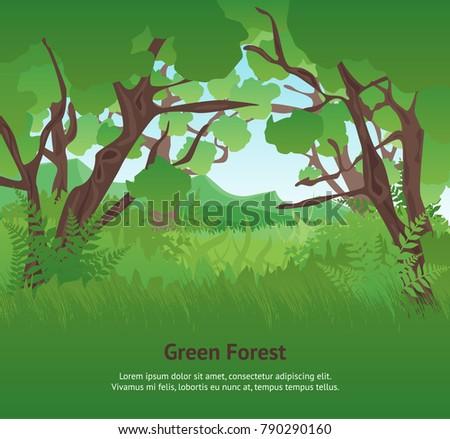 Cartoon Summer Green Forest Landscape Background Card Poster Flat Design Nature Scene Adventure Travel Vector