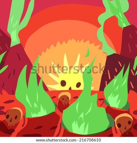 Cartoon sunrise in hell flat greeting card. The funny halloween vector postcard illustration for ui, web games, tablets, wallpapers, and patterns. - stock vector