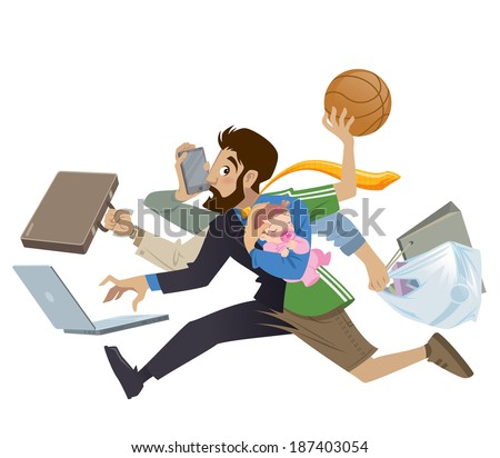 Cartoon super busy man and father multitasking, doing many works  running to the office shopping playing basketball working and talking on the phone while his baby girl sleeping - stock vector