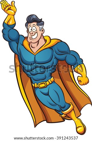 Cartoon superhero flying. Vector clip art illustration with simple gradients. All in a single layer.