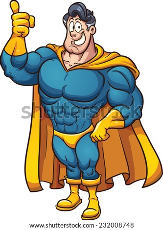 Cartoon superhero. Vector clip art illustration with simple gradients. All in a single layer. - stock vector