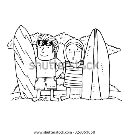 cartoon surfer boy and girl - stock vector