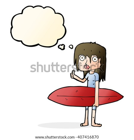 cartoon surfer girl with thought bubble - stock vector