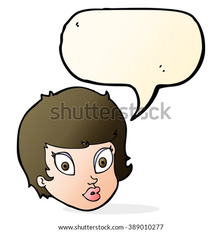 cartoon surprised female face with speech bubble
