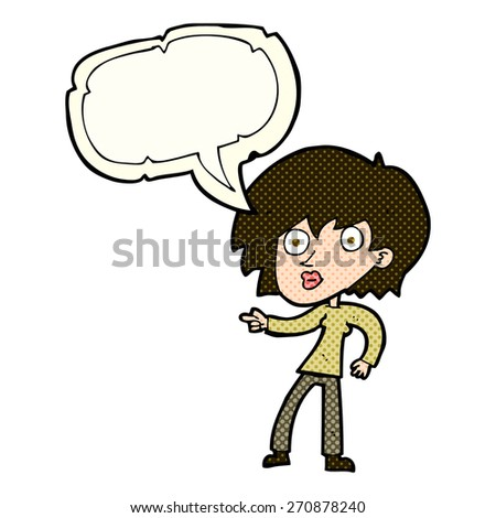 cartoon surprised woman pointing with speech bubble - stock vector