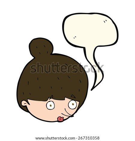 cartoon surprised woman's face with speech bubble - stock vector