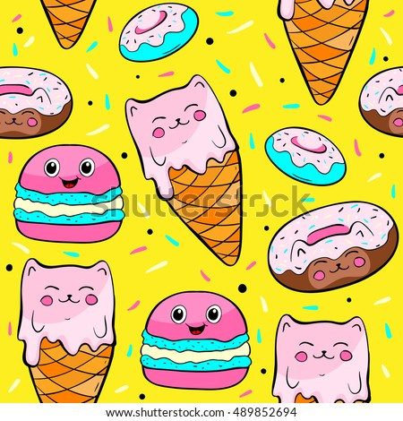 Cartoon sweets, macaroons, ice cream, donuts. Seamless pattern on yellow background. Vector illustrations