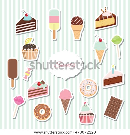 Cartoon sweets set - ice cream, donuts, cupcakes, chocolate bar, candies.  Paper cut out stickers.