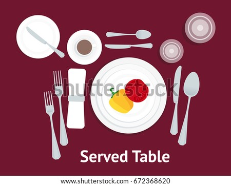 Cartoon Table Setting Place Formal Vegetables Stock Vector 672368620 ...