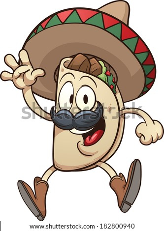 Cartoon taco wearing a sombrero. Vector clip art illustration with simple gradients. Taco and sombrero on separate layers.  - stock vector