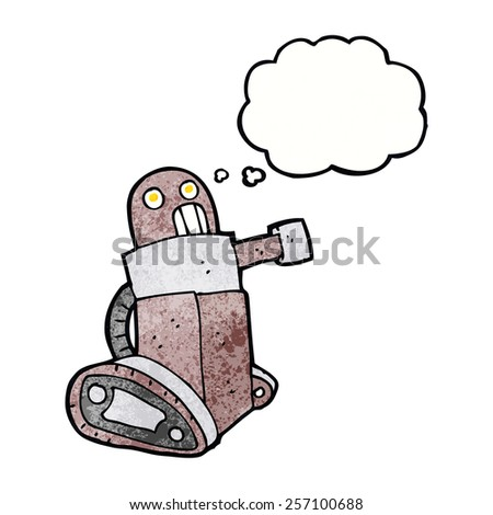cartoon tank robot with thought bubble - stock vector