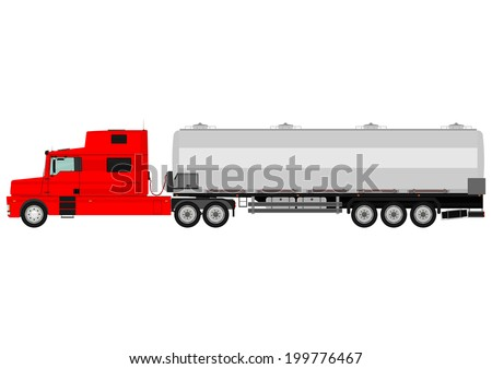 Cartoon tanker truck on a white background. Vector
