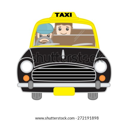 Cartoon Taxi Driver with Passenger Vector - stock vector
