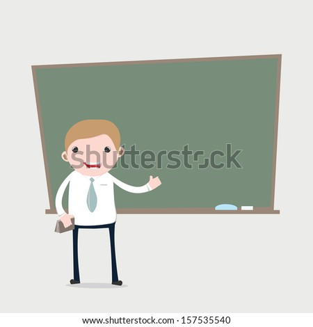 Cartoon teacher  presenting in front of a blackboard - stock vector