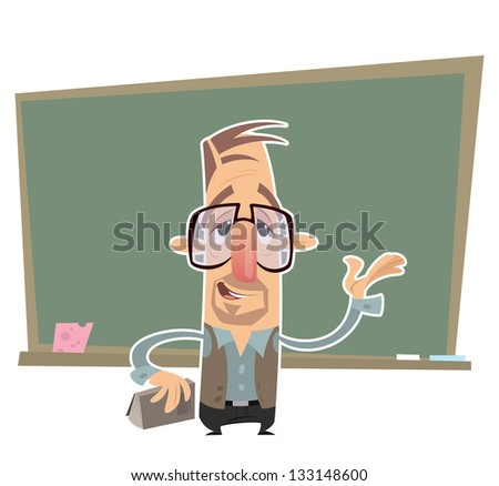 Cartoon teacher with big eye glasses presenting in front of a blackboard - stock vector