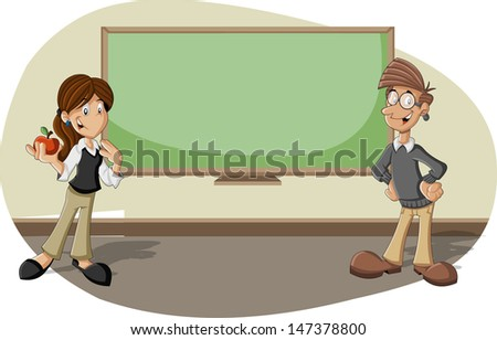 Cartoon teachers in the classroom with blackboard  - stock vector