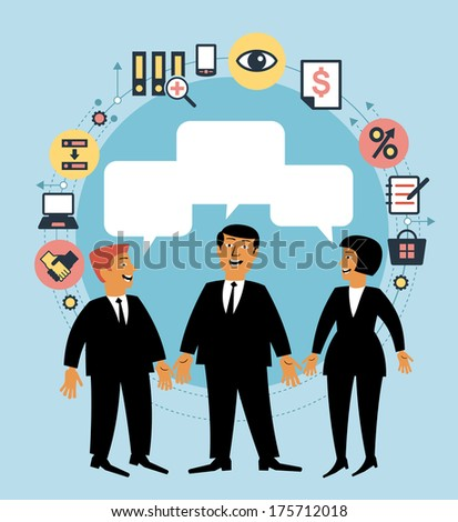 Cartoon team of people with dialog speech bubble and business icons. Concept of communication. Business concept  - stock vector
