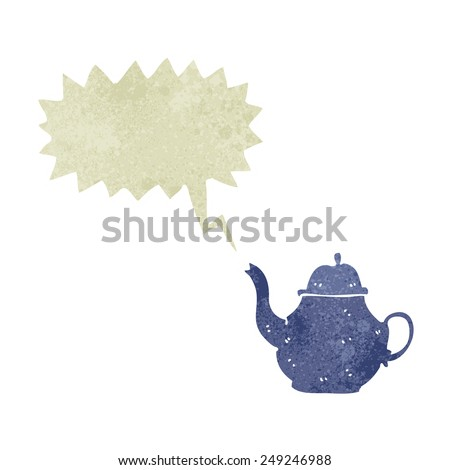 cartoon teapot with speech bubble - stock vector