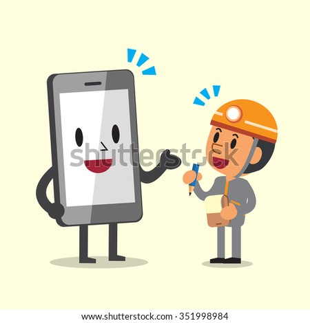 Cartoon technician and smartphone character