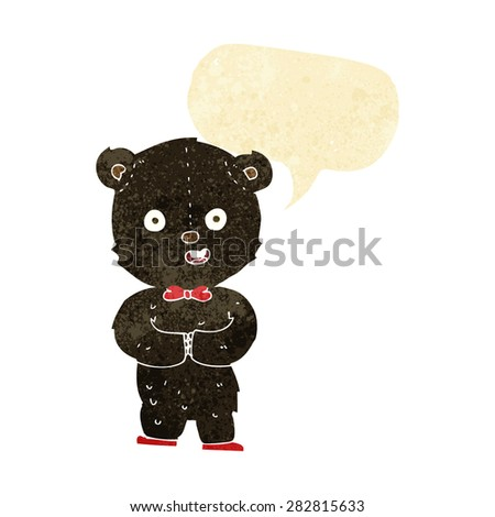 cartoon teddy black bear with speech bubble