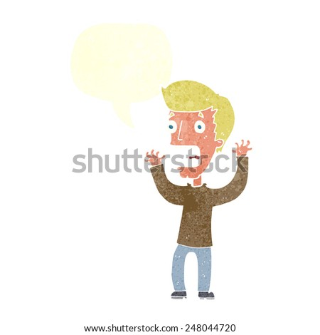 cartoon terrified man