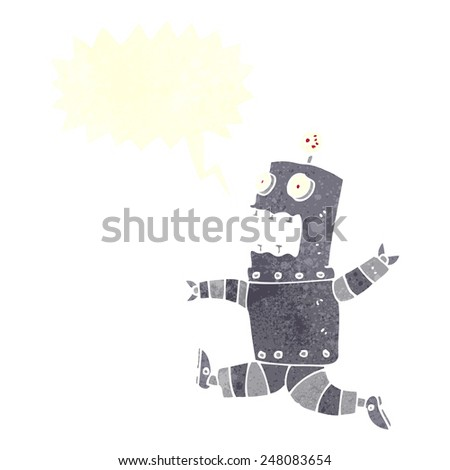 cartoon terrified robot with speech bubble - stock vector