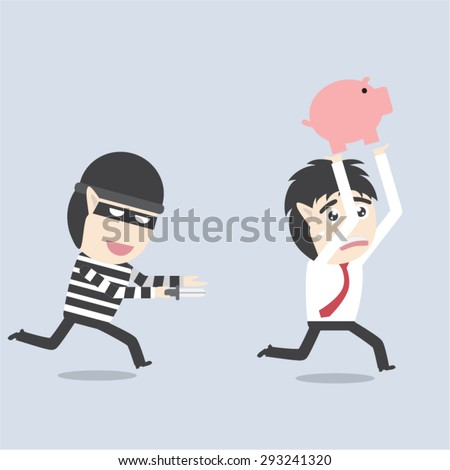 cartoon Thief holding knife in his hand and steal piggy bank - stock vector