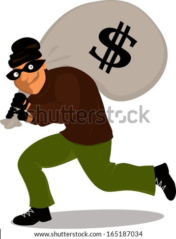 Cartoon thief in a mask carrying a money bag with a dollar sign on it, vector illustration - stock vector