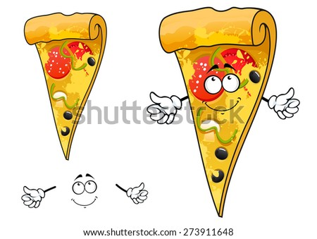 Cartoon thin slice of pizza character with cheese and sliced salami, tomato, pepper, mushroom, olives for pizzeria or takeaway restaurant menu design - stock vector