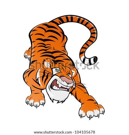 cartoon tiger - stock vector