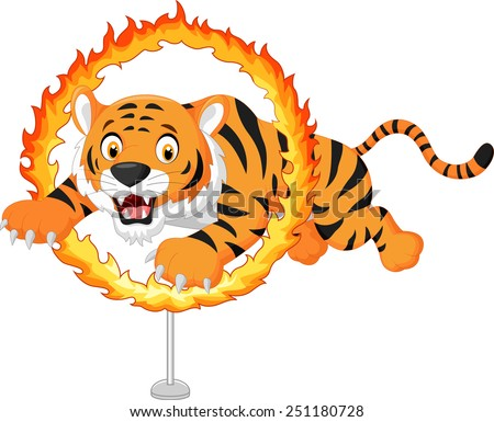 Cartoon tiger jumps through ring of fire - stock vector