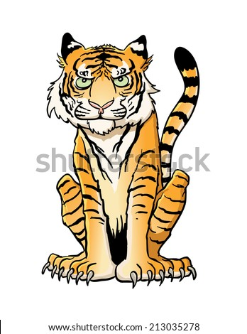 Cartoon Tiger Sitting - stock vector