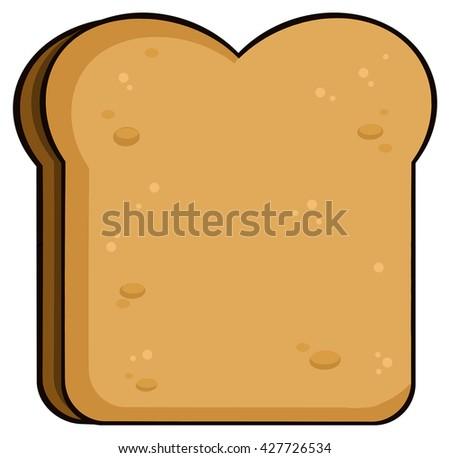 Cartoon Toast Bread Slice. Vector Illustration Isolated On White Background - stock vector