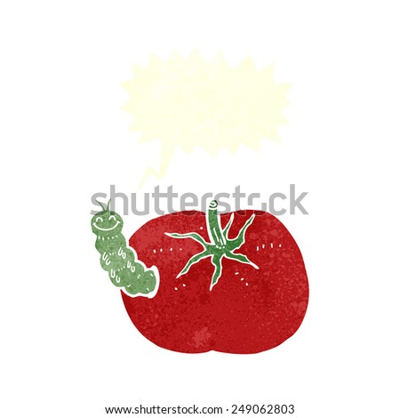 cartoon tomato with bug with speech bubble
