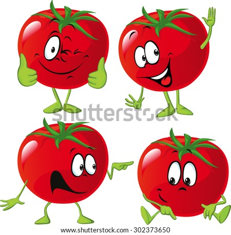 cartoon tomato with many expression, hand and leg - stock vector