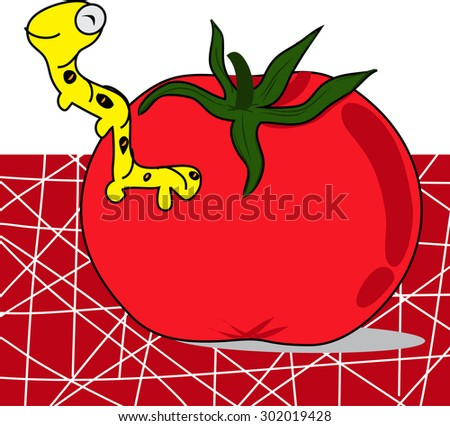 cartoon tomato with worm, red background - stock vector