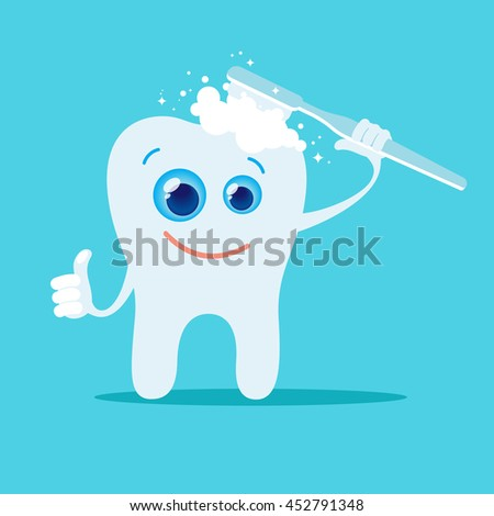 Cartoon tooth and toothbrush. Blue background. Vector, illustration