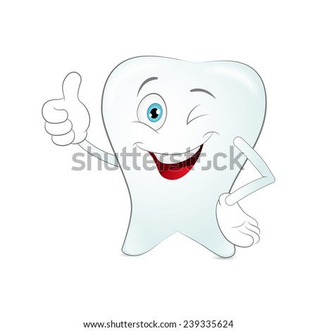 Cartoon tooth on a white background. Vector - stock vector