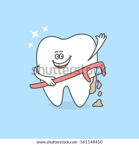 Cartoon tooth dental floss stick floss stock photo photo vector cartoon tooth with a dental floss stick or a floss holder teeth care and hygiene reheart Gallery