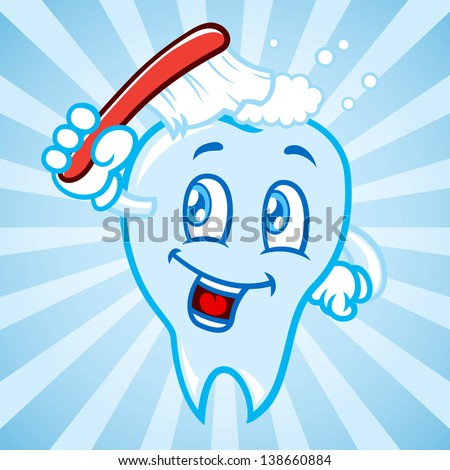cartoon tooth with background