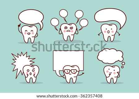 cartoon tooth with speech bubble, great for your design - stock vector