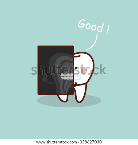 cartoon tooth with X ray, great for health dental care concept - stock vector