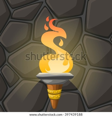 Cartoon torch with flame on stone wall background. Vector illustration. - stock vector