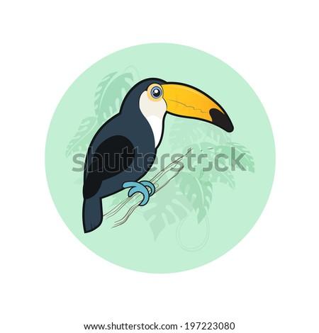 Cartoon toucan in the rainforest - stock vector