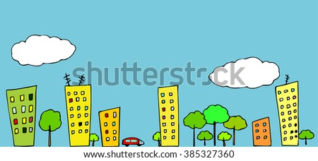 Cartoon town. A street with buildings,trees and a car against a sky with clouds. Can be used as a seamless horizontal pattern.