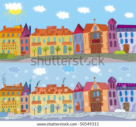 Cartoon town in summer and winter - stock vector