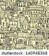 Cartoon town seamless pattern - stock vector