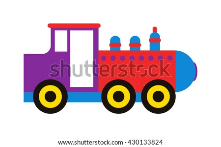 Cartoon toy train with colorful blocks isolated over white and toy train vector set. Toy train color railroad and cartoon carriage game toy train fun leisure joy gift. Locomotive transportation. - stock vector